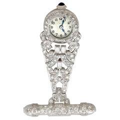 1940s 2.04 Carat Diamond and Platinum Ladies Fob Watch