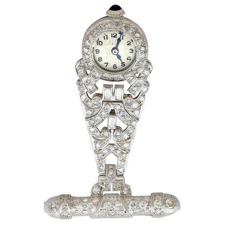1940s 2.04 Carat Diamond and Platinum Ladies Fob Watch For Sale