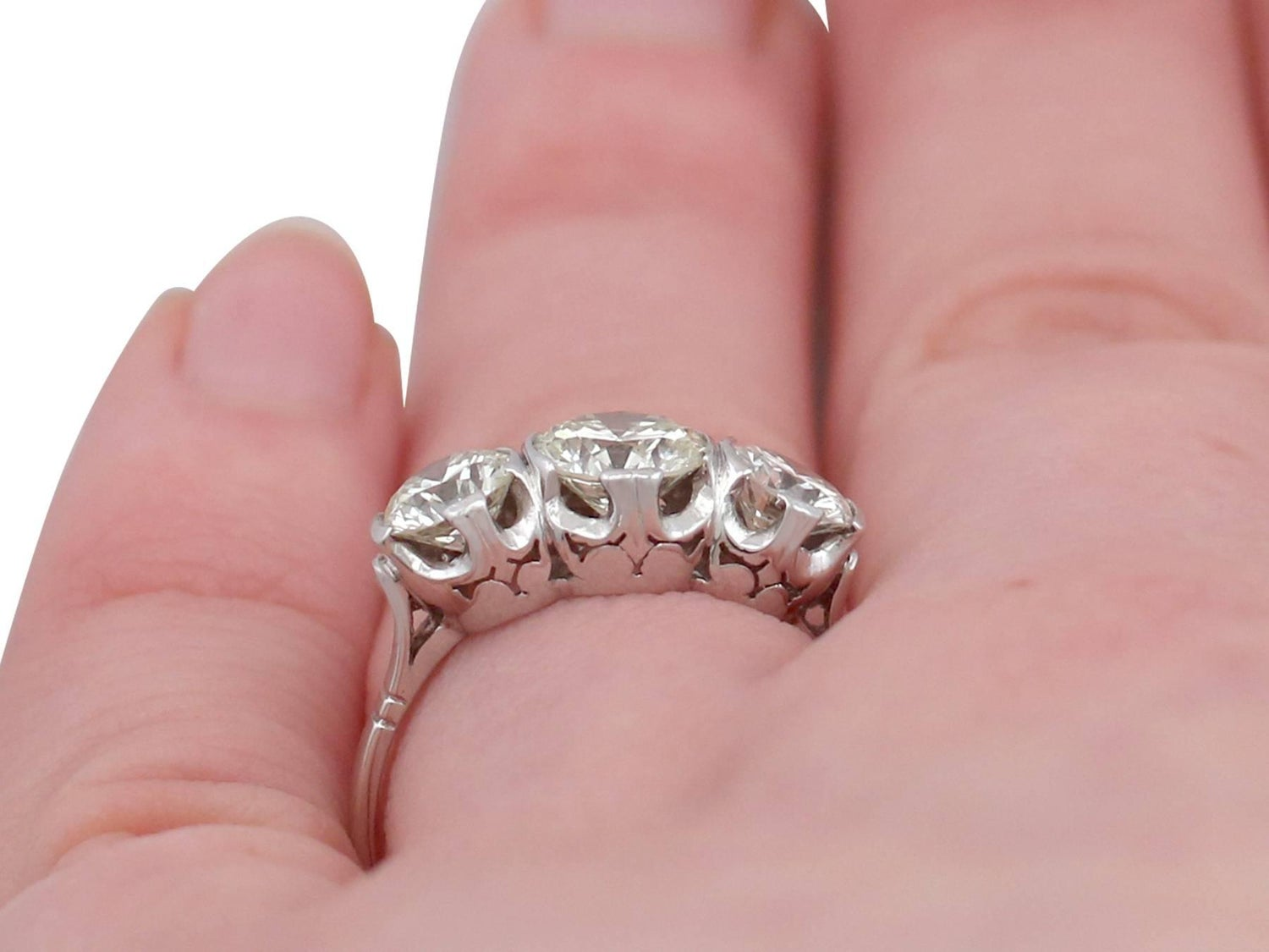 1940s 2.17 Carat Diamond and Platinum Trilogy Ring For Sale at 1stdibs