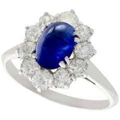 1940s 2.17 Carat Sapphire and Diamond Gold Cocktail Ring