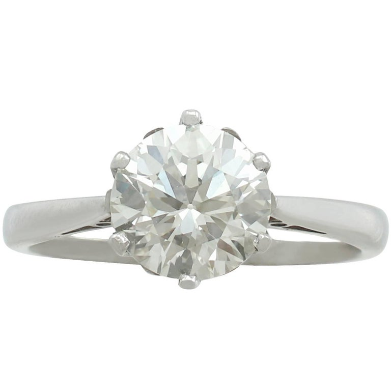 1940s 2.24 Carat Diamond and Contemporary Platinum Solitaire Ring