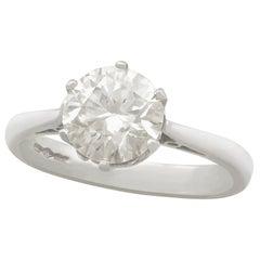 1940s 2.24 Carat Diamond and Platinum Solitaire Engagement Ring