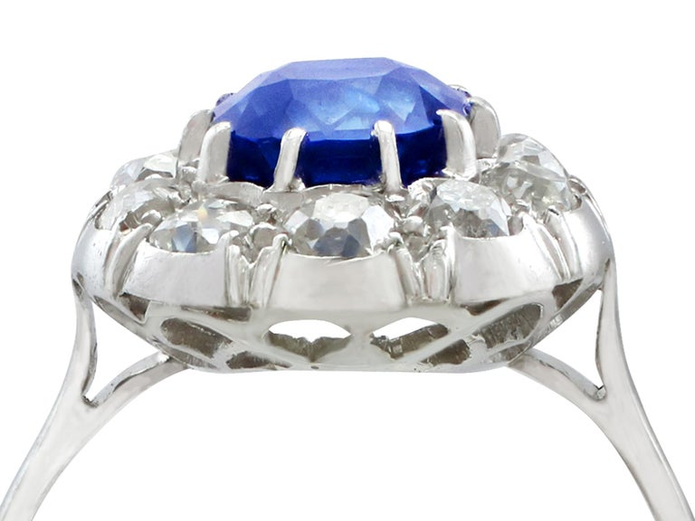 4340c731bd290 1940s 2.25 Carat Sapphire and Diamond Platinum Cocktail Ring