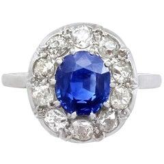 1940s 2.25 Carat Sapphire and Diamond Platinum Cocktail Ring