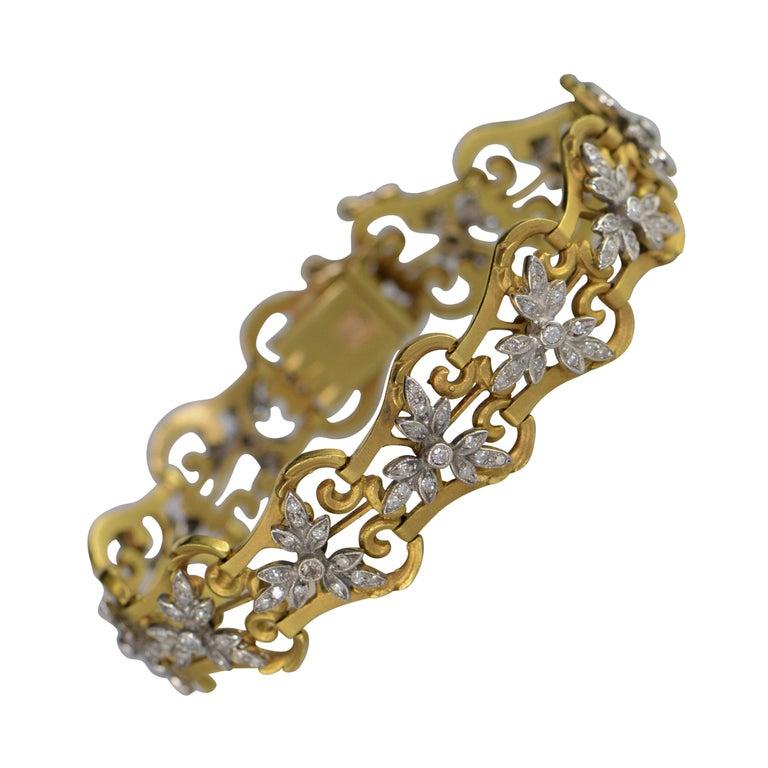 1940s 2.50 Carat Diamond Link Gold Bracelet For Sale