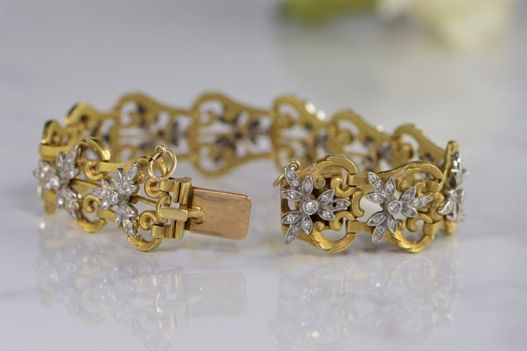 Women's 1940s 2.50 Carat Diamond Link Gold Bracelet For Sale