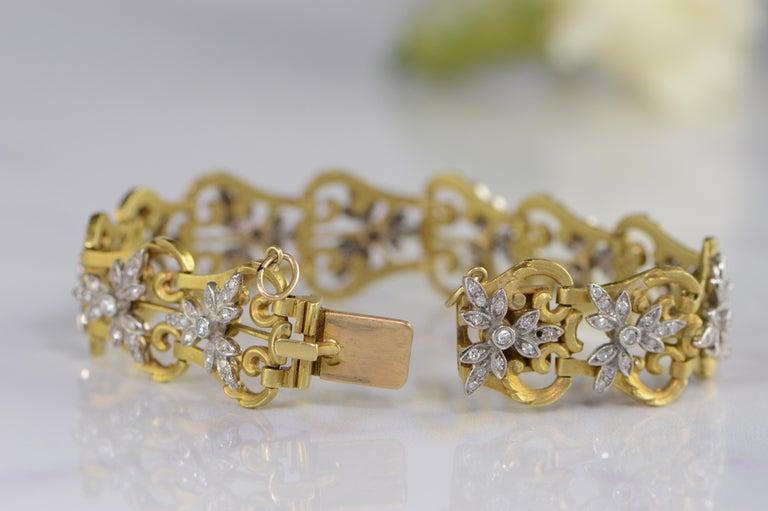 1940s 2.50 Carat Diamond Link Gold Bracelet For Sale 1