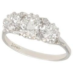 1940s 2.63 Carat Diamond White Gold Trilogy Ring