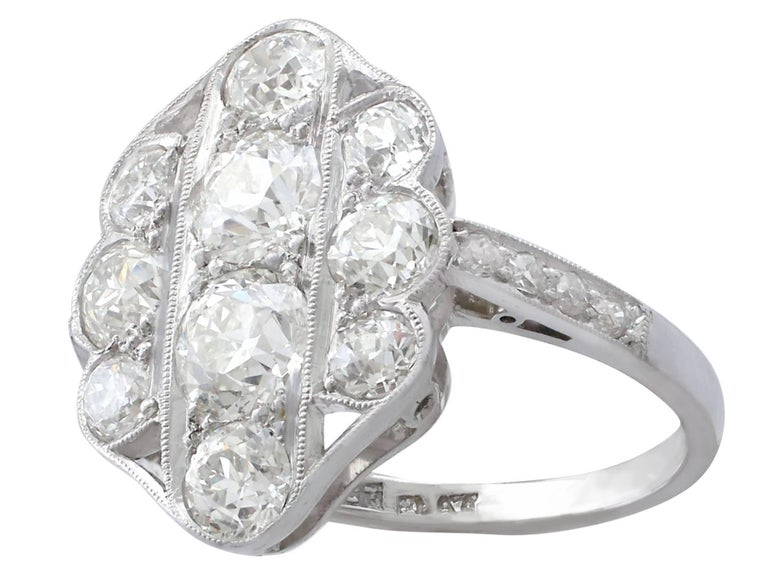 Round Cut 1940s 2.85 Carat Diamond Gold Cocktail Ring For Sale