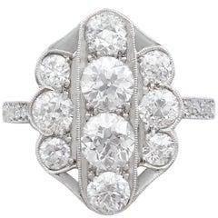 1940s 2.85 Carat Diamond Gold Cocktail Ring