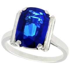 1940s 2.99 Carat Sapphire and Diamond White Gold Cocktail Ring