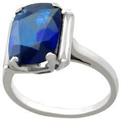 1940s 2.99 Carat Sapphire Diamond White Gold Cocktail Ring