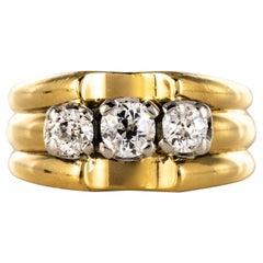 1940s 3 Diamonds 18 Karat Yellow Gold Platinum Tank Ring