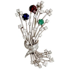 1940s 3.20 Carat Diamond & 1.79 Carat Garnet Emerald & Sapphire Platinum Brooch