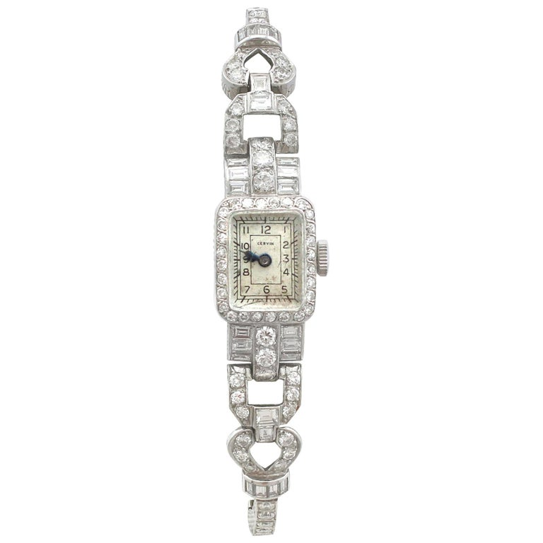 1940s 3.35 Carat Diamond and Platinum Cocktail Watch For Sale