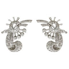 1940s 3.63 Carat Diamond and Platinum White Gold Clip-On Earrings
