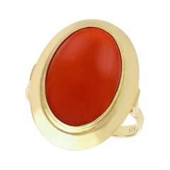 1940s 5.75 Carat Red Coral and Yellow Gold Ring
