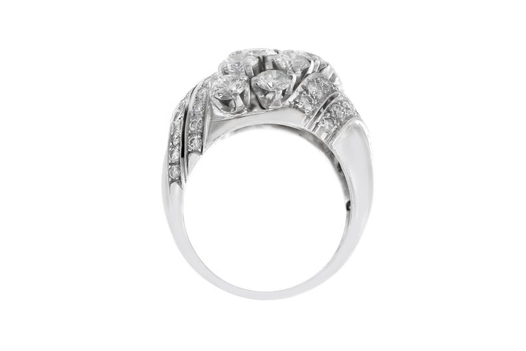 Round Cut 1940s 6 Lines of Diamonds Ring For Sale