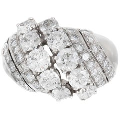 1940s 6 Lines of Diamonds Ring