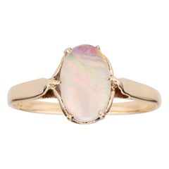 1940's .60 Carat Oval Australian Opal Yellow Gold Ring