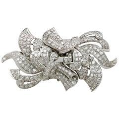 1940s 6.23 Carat Diamond and White Gold Platinum Set Brooch