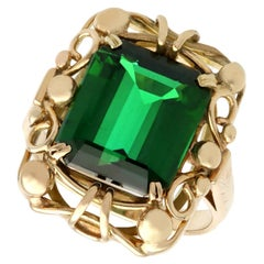 1940s 8.37 Carat Tourmaline and Yellow Gold Cocktail Ring