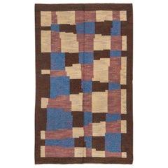 1940s Abstract Art Deco Scandinavian Rollaken Rug, Blue, Yellow & Brown Tones