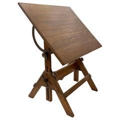 1940s Adjustable Drafting Table Work Desk in Refinished Oak