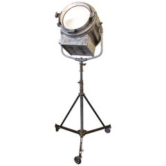 1940s Adjustable Stripped and Lacquered Mole Richardson Spotlight with Tripod