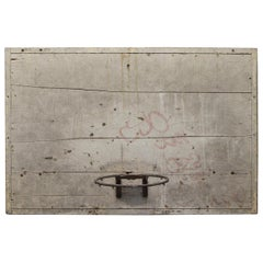 1940s Adjustable Wood Basketball Backboard with Original Paint from a NYC Court
