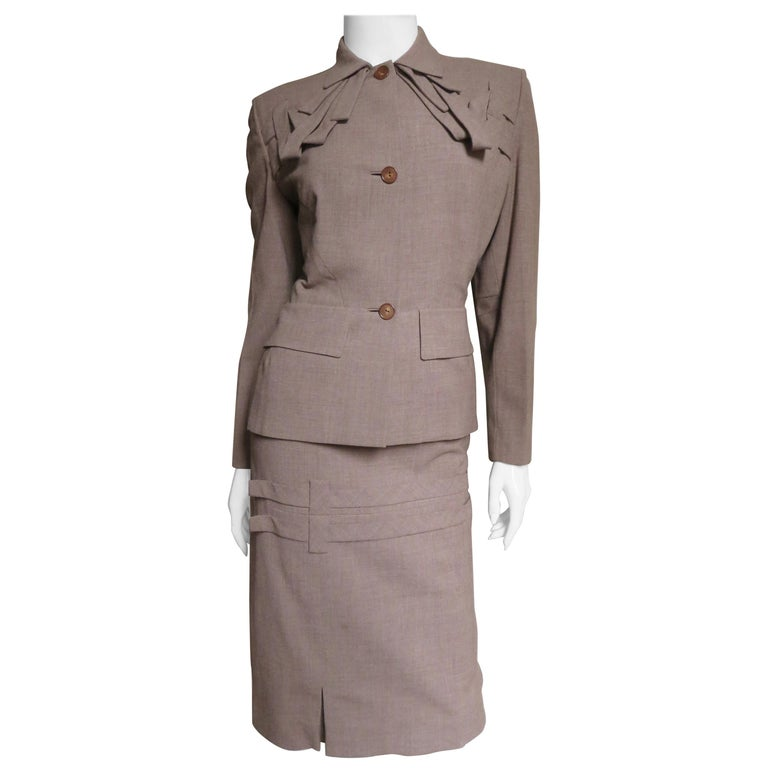 1940s Adrian Detail Skirt Suit For Sale