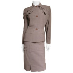 1940s Adrian Detailed Skirt Suit
