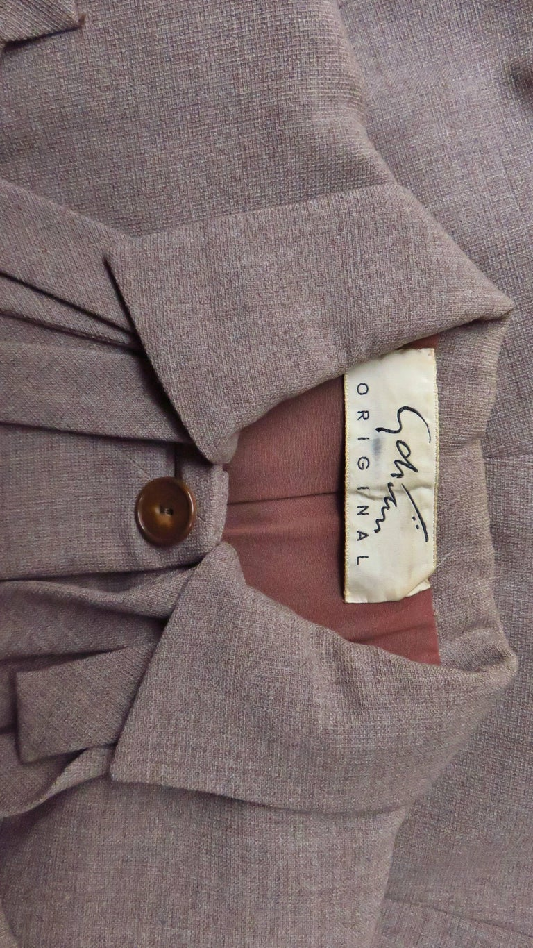 1940s Adrian Detail Skirt Suit For Sale 9