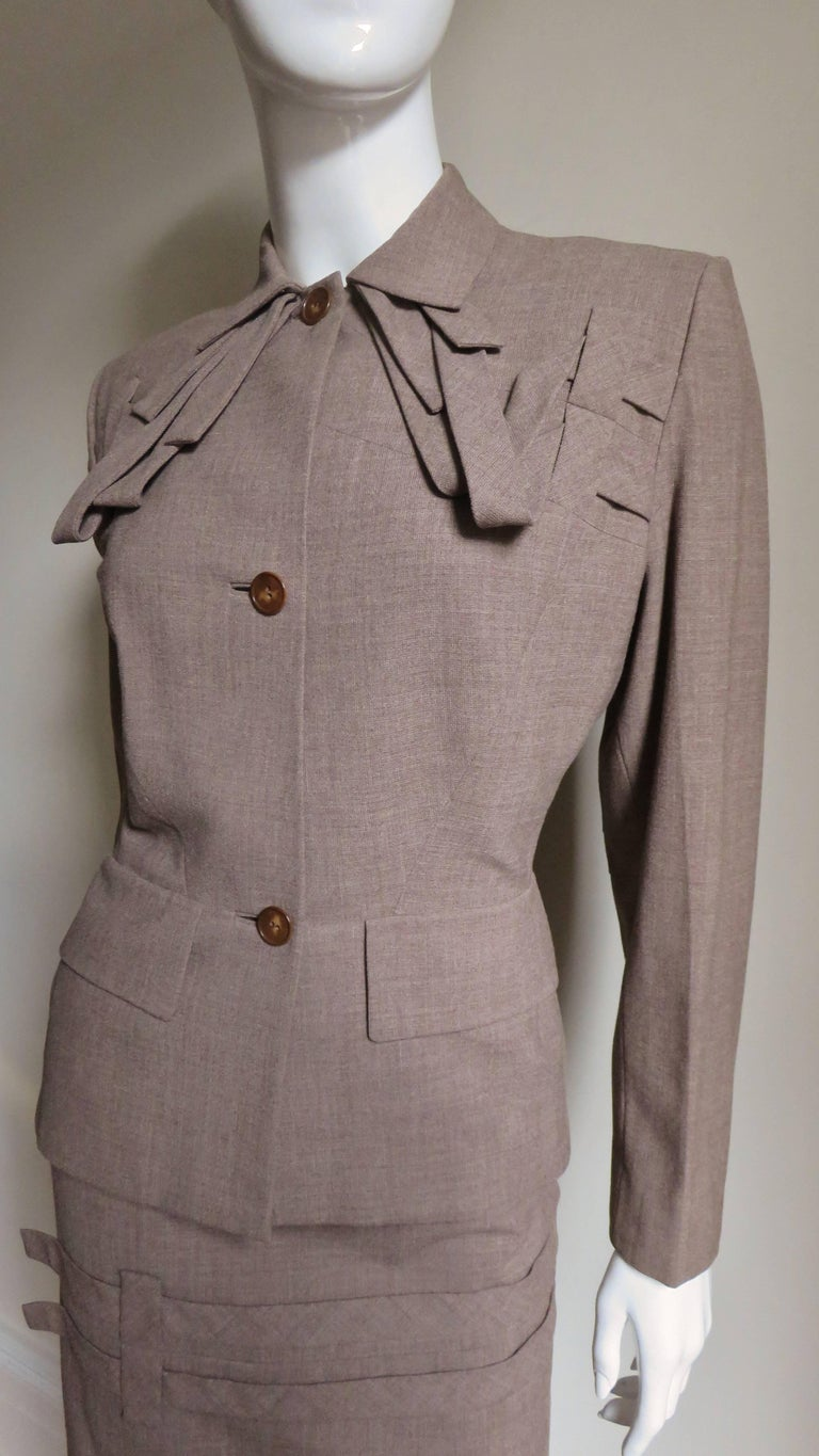 Gray 1940s Adrian Detail Skirt Suit For Sale