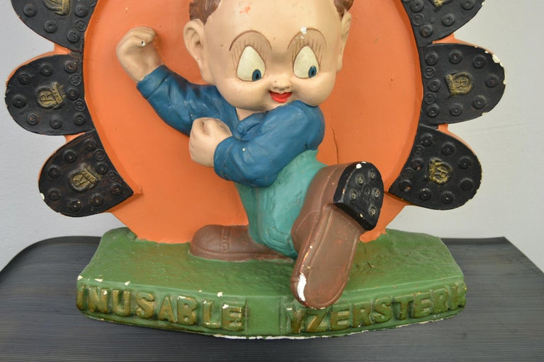 1940s Advertising Display for Yosza Soles Painted Plaster by F. Dengler, Belgium In Good Condition For Sale In Antwerp, BE