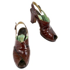 1940s Alligator Sling-back Heels