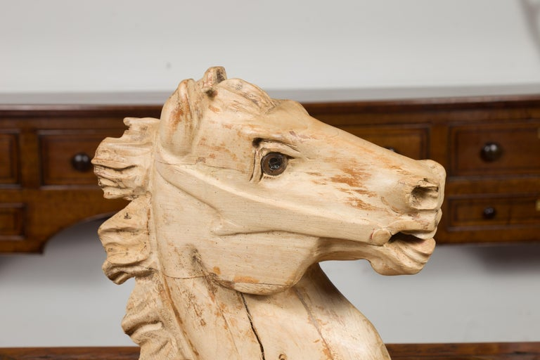20th Century 1940s American Carved Wooden Horse Head Fragment with Weathered Patina For Sale