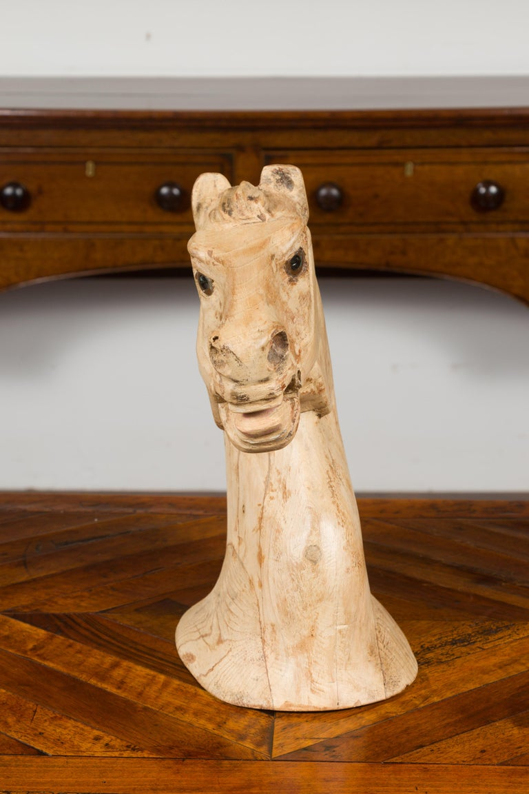1940s American Carved Wooden Horse Head Fragment with Weathered Patina For Sale 3