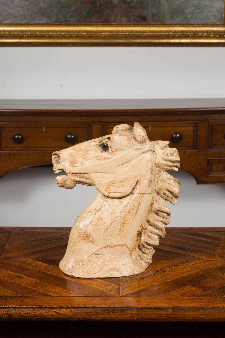 1940s American Carved Wooden Horse Head Fragment with Weathered Patina For Sale 4