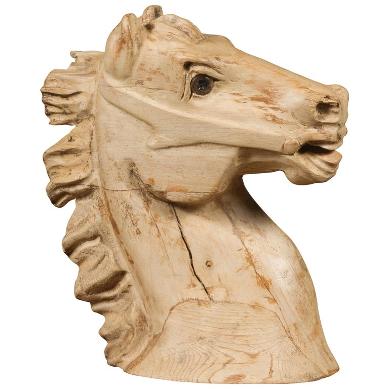 1940s American Carved Wooden Horse Head Fragment with Weathered Patina For Sale