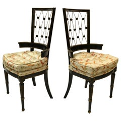 1940s American Intricate Diamond Pattern Back Armchairs In Black and Gold, Pair