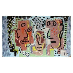 1940s American Primitive Modernist Painting of Three Faces