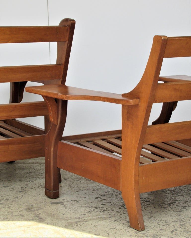 Excellent 1940S American Rustic Wide Paddle Arm Maple Lounge Chairs Caraccident5 Cool Chair Designs And Ideas Caraccident5Info