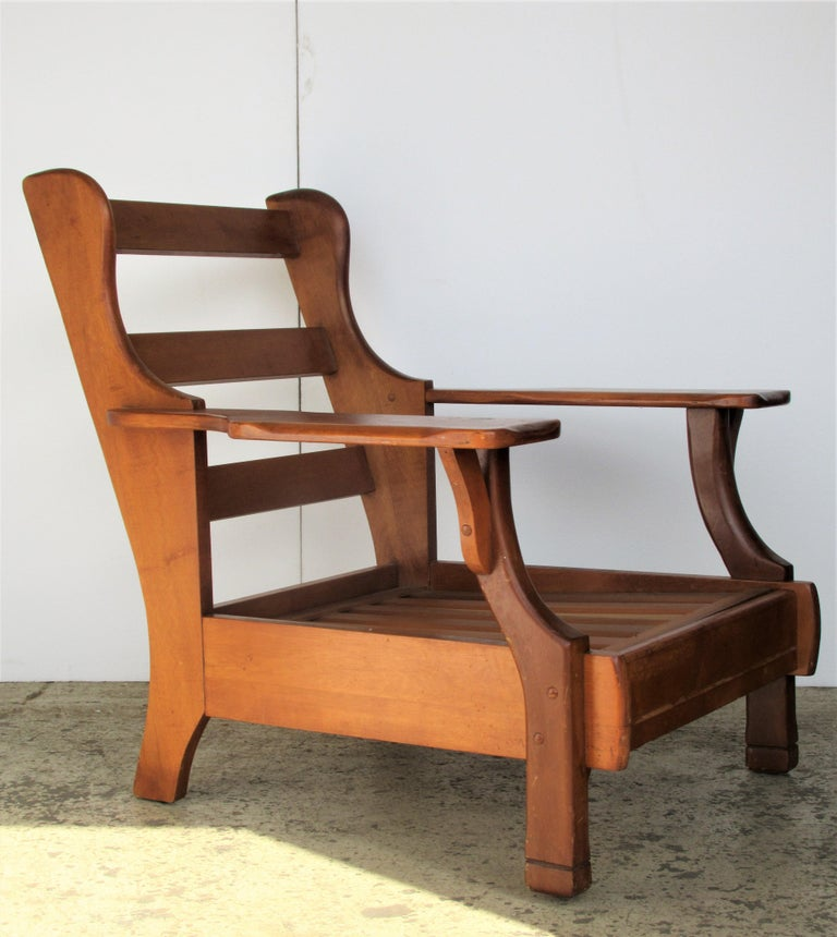 Phenomenal 1940S American Rustic Wide Paddle Arm Maple Lounge Chairs Caraccident5 Cool Chair Designs And Ideas Caraccident5Info