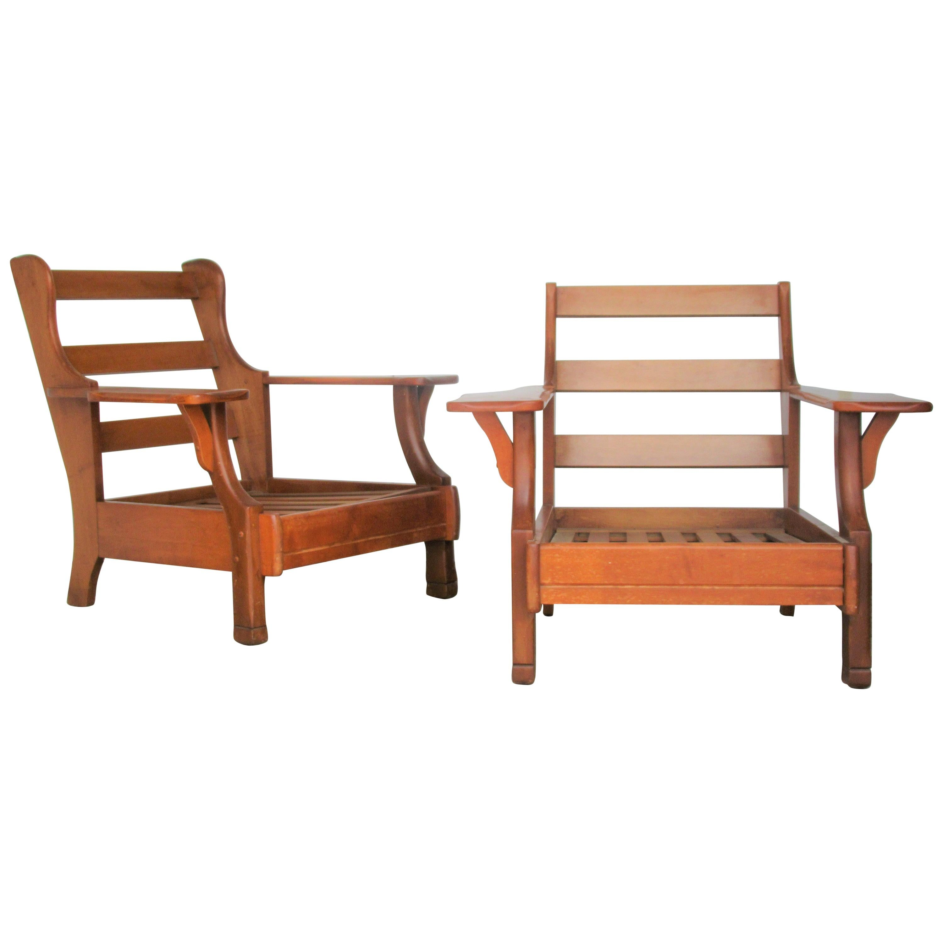 1940s American Rustic Wide Paddle Arm Maple Lounge Chairs