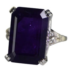 1940s Amethyst Diamond Cocktail Ring