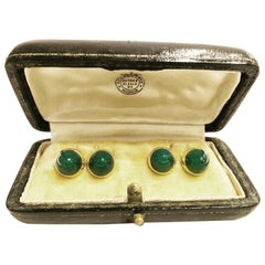 1940s Ansorena Green Chrysoprase Double Cabochon Yellow Gold Cufflinks