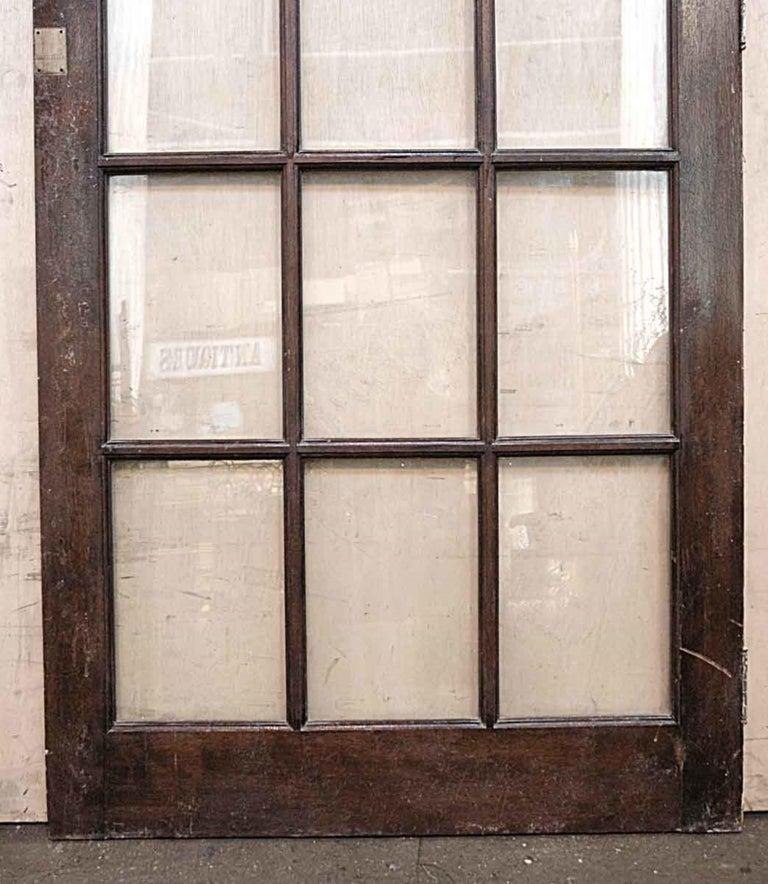 American 1940s Antique 15-Lite Dark Stain Birch French Door For Sale
