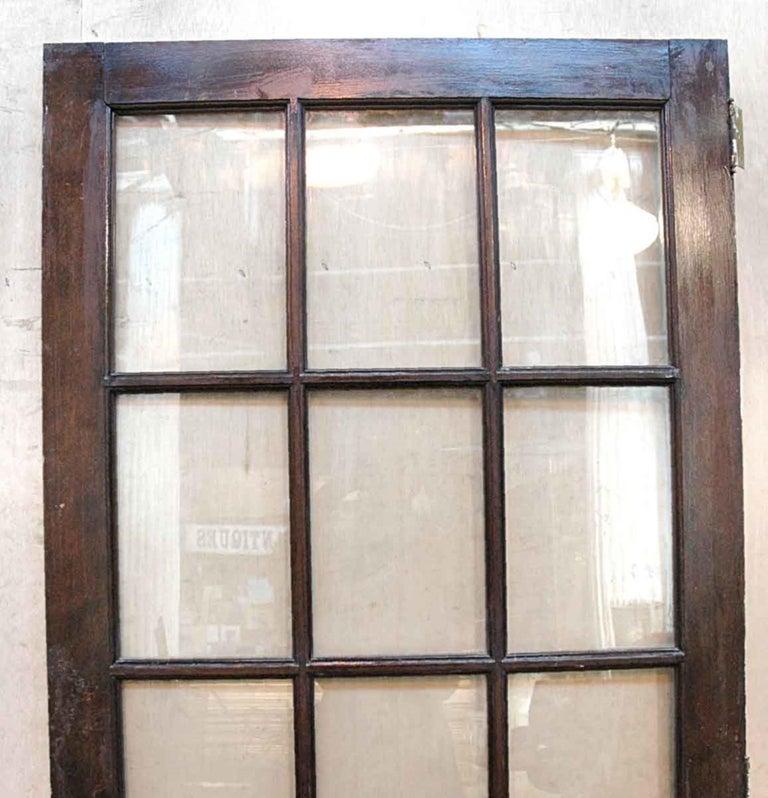 Mid-20th Century 1940s Antique 15-Lite Dark Stain Birch French Door For Sale