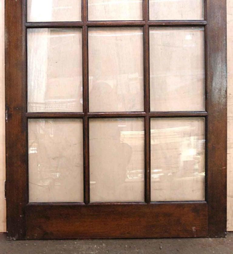 Glass 1940s Antique 15-Lite Dark Stain Birch French Door For Sale